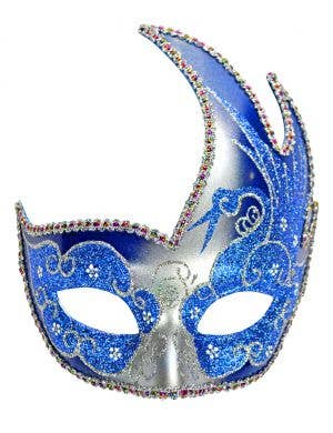 Swan Venetian Masquerade Mask - Silver and Blue