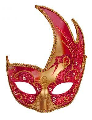 Swan Venetian Masquerade Mask - Gold and Red