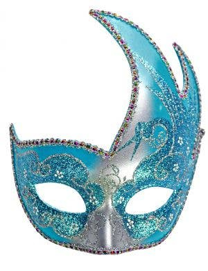 Swan Venetian Women's Masquerade Mask - Silver and Turquoise