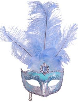 Hand-held Venetian Feather Light Blue Masquerade Mask