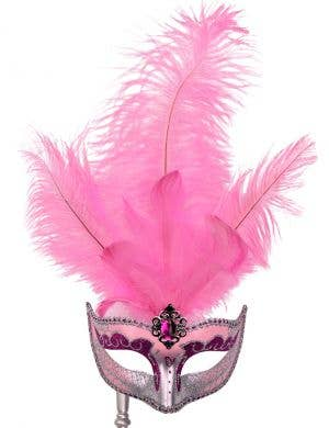 Hand-held Venetian Feather Pink Masquerade Mask