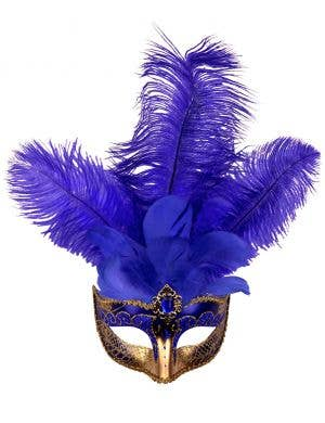 Elegant Venetian Feather Blue Masquerade Mask