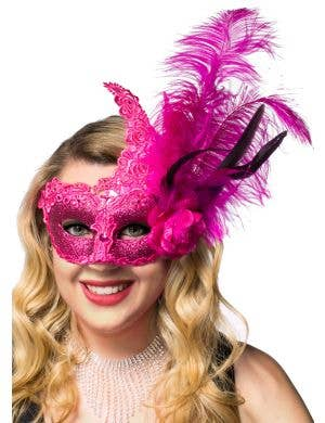 Side Feather Hot Pink Lace and Glitter Masquerade Mask