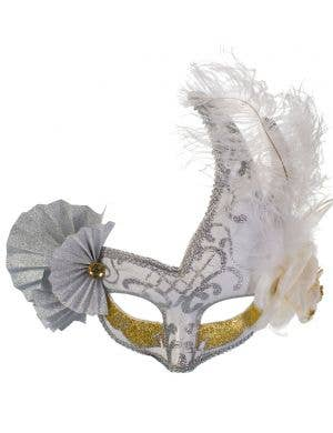 Elaborate Silver and White Fan Masquerade Mask