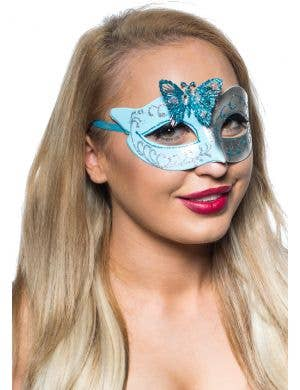 Butterfly Venetian Mask in Pale Blue and Silver
