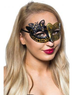 Butterfly Venetian Mask in Black and Gold