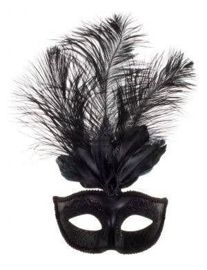 Elegant Tall Feather Black Masquerade Mask