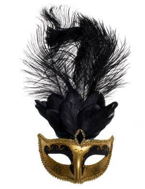 Elegant Tall Feather Masquerade Mask, Gold & Black