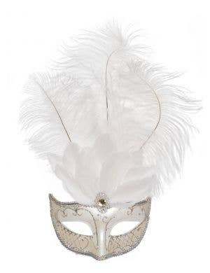 Elegant Tall Feather Masquerade Mask in White & Silver