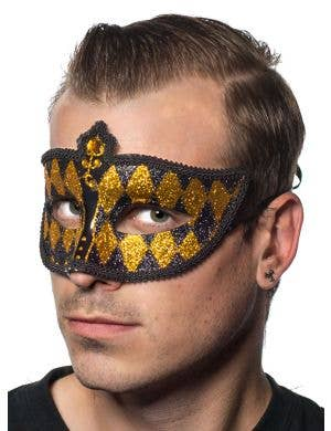 Harlequin Glitter Venetian Masquerade Mask - Black and Gold
