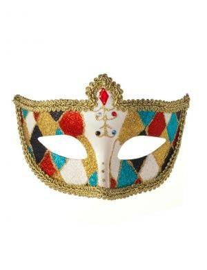 Harlequin Glitter Venetian Masquerade Mask - Gold Braid