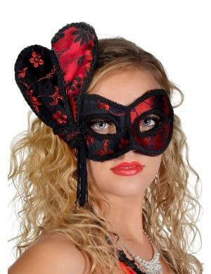Deluxe Black and Red Brocade Masquerade Mask