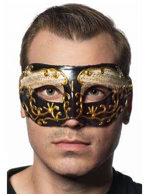 Music Notes Black & Gold Venetian Masquerade Mask