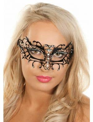 Antique Deluxe Metal Masquerade Mask - Black