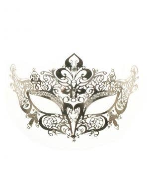 Lacework Metal Rhinestone Masquerade Mask - Silver