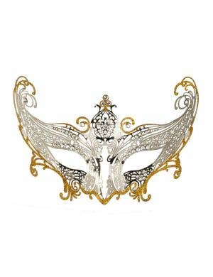 Divine Metal Lace Masquerade Mask - Silver and Gold