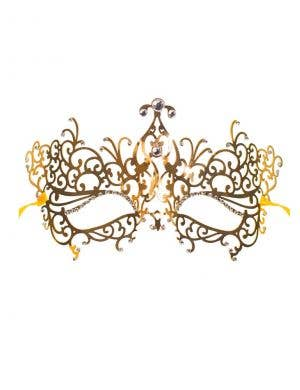 Delicate Gold Filigree Lightweight Metal Masquerade Mask