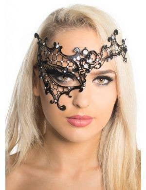 Over Eye Black Metal Masquerade Mask