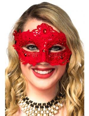 Glitter and Floral Lace Overlay Red Masquerade Mask