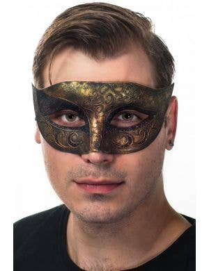 Antique Bronze and Black Glitter Masquerade Mask