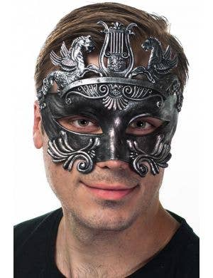 Centurion Antique Silver Men's Masquerade Mask