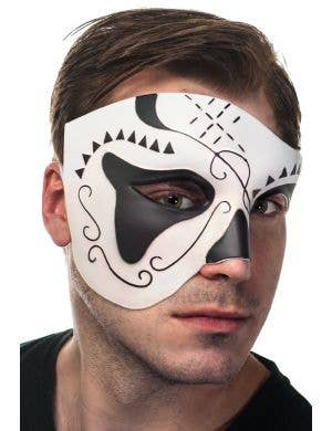 Over Eye Black and White Men's Masquerade Mask