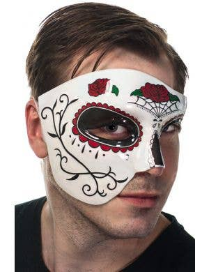 Over Eye Red and Black Sugar Skull Masquerade Mask