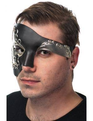 Over Eye Men's Deluxe Black and Silver Masquerade Mask