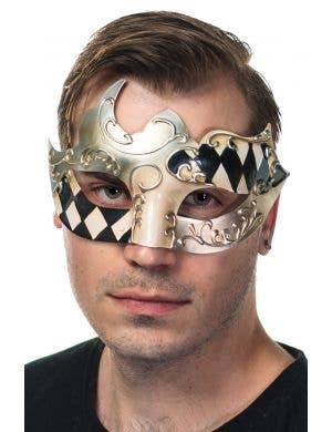 Asymmetrical Harlequin Pattern Silver Masquerade Mask