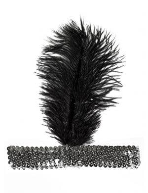 Soft Feather Silver and Black 1920's Flapper Headband