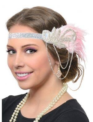Roaring 20's Gatsby Pink and Silver 5 Piece Deluxe Accessory Set