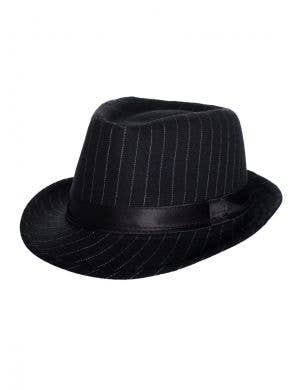 1920's Women's Black Gangster Trilby Hat with White Pinstripes