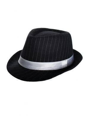 1920's Women's Gangster Pinstriped Black Trilby Hat with White Band