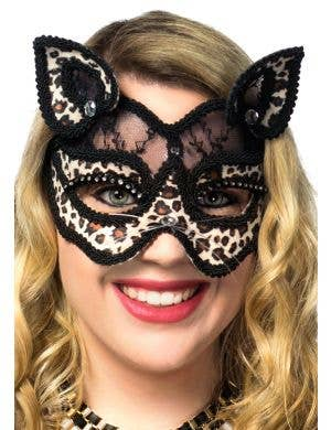 Black Lace and Leopard Print Velvet Luxury Cat Face Masquerade Mask