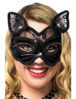 Black Cat Luxury Velvet and Sheer Lace Masquerade Mask