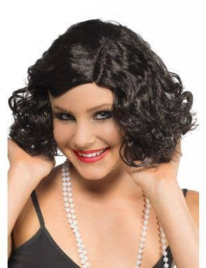 1930's Movie Star Black Flapper Wig
