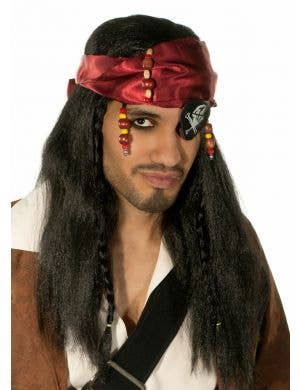 Caribbean Pirate Captain Black Wig and Head Scarf
