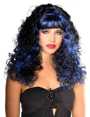 Gothic Blue and Black Halloween Vampire Wig