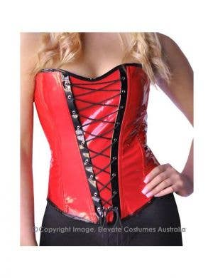 High Shine Stretch Corset Black/Red