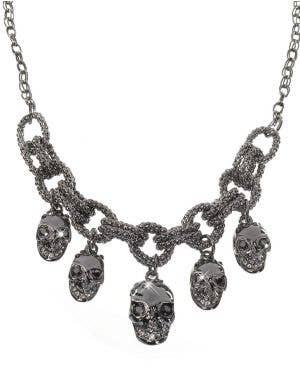 Gun Metal Black Halloween Skulls Necklace