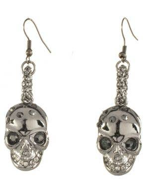 Gun Metal Black Halloween Skull Earrings