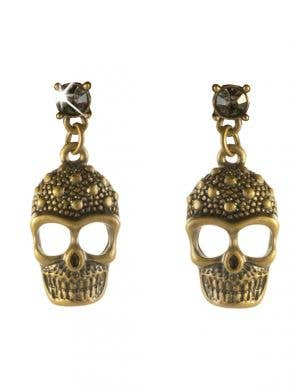 Brass Skull Rhinestones Halloween Earrings