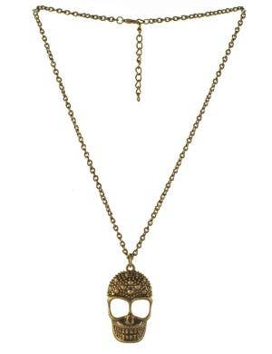 Brass Skull Necklace Halloween Costume Jewelery