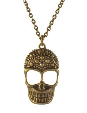 Brass Skull Necklace Halloween Costume Jewelery