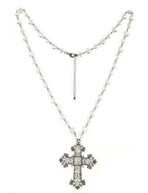 Gun Metal Black Gothic Cross Halloween Necklace