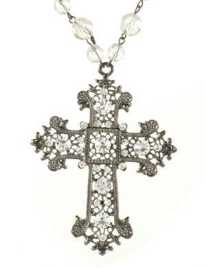 Gun Metal Black Gothic Cross Halloween Necklace