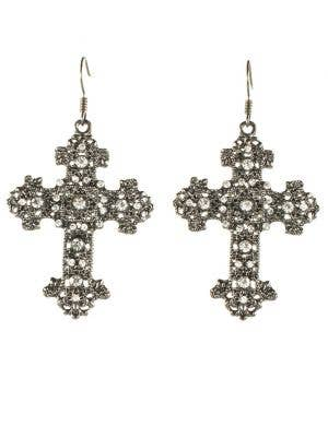 Gun Metal Black Gothic Cross Halloween Earrings