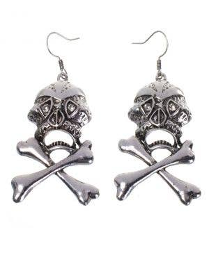 Silver Skull and Cross Bones Women's Earrings