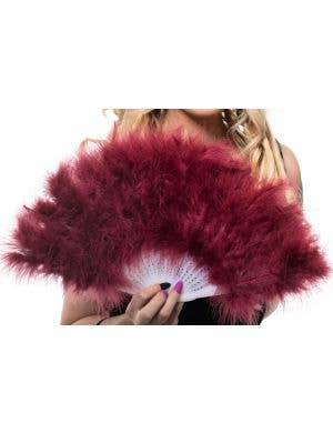 Fluffy Deep Red Feather Fan Costume Accessory