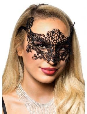 Cat Eyes Black Lace Masquerade Mask
